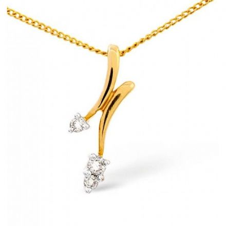 9K Gold 0.10ct Diamond Pendant, E1450